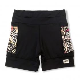 Shorts de compressão 1500 bolsos em sportiva preto com bolsos laterais estampa Borboletas