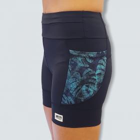 Shorts de compressão 1500 bolsos em sportiva preto com bolsos laterais estampa Folhagem