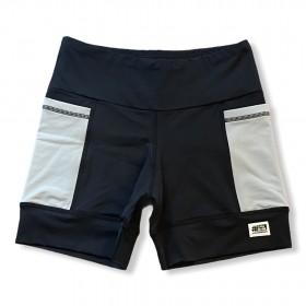 Shorts de compressão 2 bolsos laterais Square em sportiva preto bolsos cinza