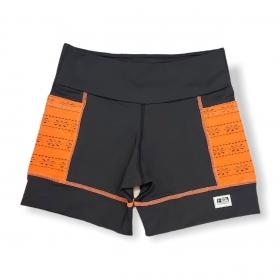 Shorts de compressão 2 bolsos laterais Square em sportiva preto bolsos laranja
