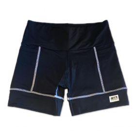 Shorts de compressão 2 bolsos Square em sportiva preto costura branca