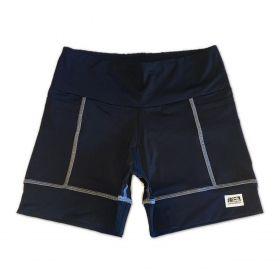 Shorts de compressão 2 bolsos Square em sportiva preto costura cinza