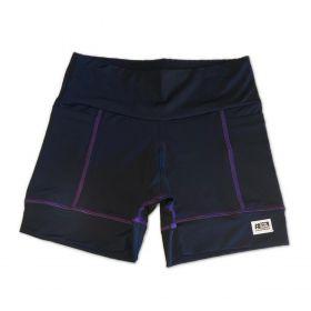 Shorts de compressão 2 bolsos Square em sportiva preto costura roxa