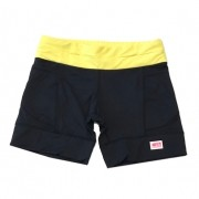 Shorts de compressão mil bolsos em compress preto com cós amarelo