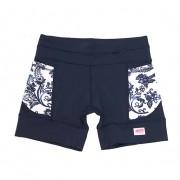 Shorts de compressão mil bolsos em sportiva azul marinho bolsos estampa floral