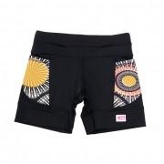 Shorts de compressão mil bolsos em sportiva preto com bolsos estampa mandala