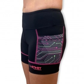 Shorts de compressão ReStart em bodytex com bolsos laterais estampa techpink