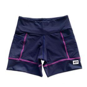 Shorts de compressão square em compress marinho com costura rosa