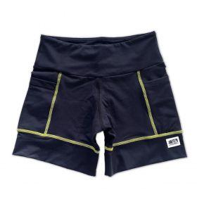 Shorts de compressão square em compress preto com costura amarela