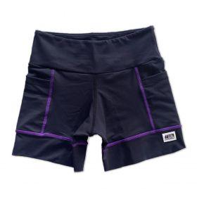 Shorts de compressão square em compress preto com costura roxa