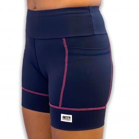 Shorts de compressão Square em sportiva azul marinho com costuras pink