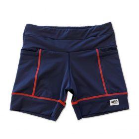 Shorts Multibolsos marinho com costura vermelha em compress