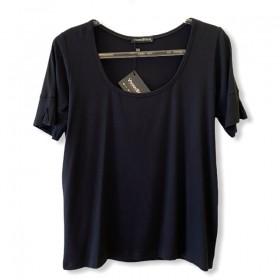 T-shirt basic decote U prega na manga preta