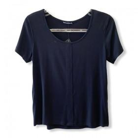 T-shirt basic recorte preta