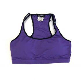 Top de compressão com bolso e bojo em sportiva ajuste alça e costas roxo