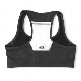 Top de compressão com bolso nas costas em compress chumbo e bolso branco