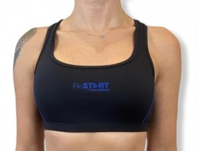 Top de compressão ReStart em bodytex preto e costura azul royal