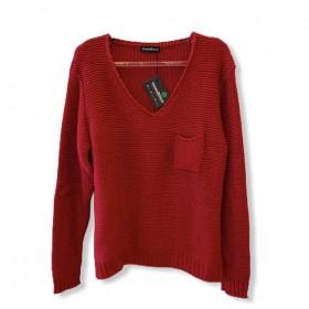 Tricô decote V bolsinho Vermelha