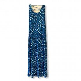 Vestido em malha fria azul estampado
