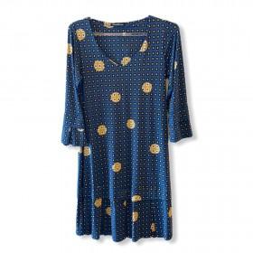 Vestido malha fria azul estampado