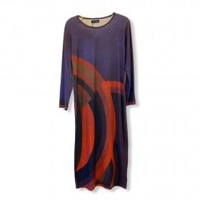 Vestido roxo e marrom geométrico