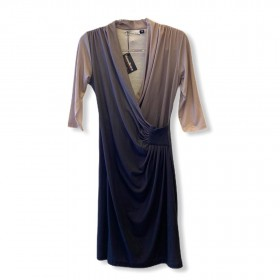 Vestido transpassado drapeado degradê marrom
