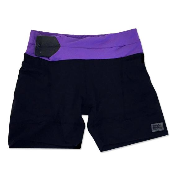 Shorts de compressão mil bolsos em sportiva preto com cós roxo