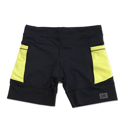 Shorts de compressão mil bolsos em compress preto com bolsos laterais amarelo neon