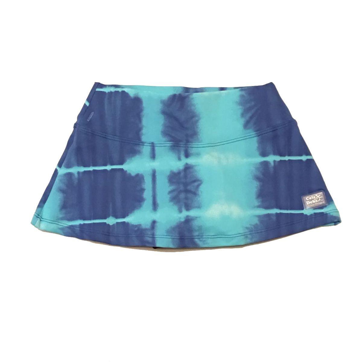 Saia shorts infantil estampada tie dye azul  - Vivian Bógus