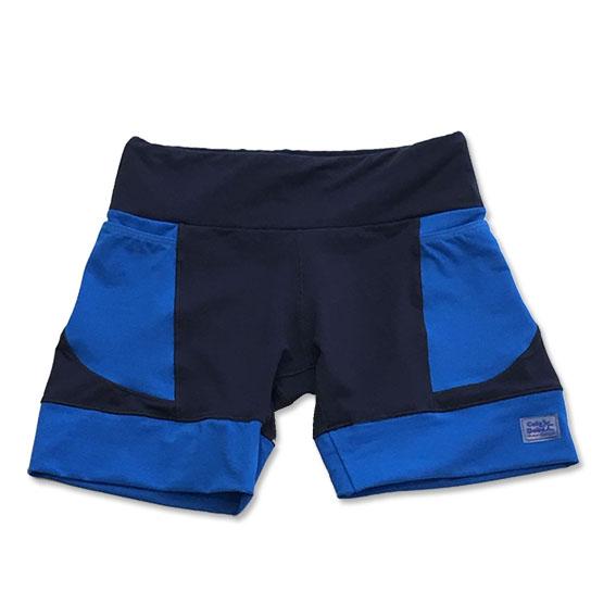 Shorts de compressão em compress azul marinho com bolsos e barra azul royal