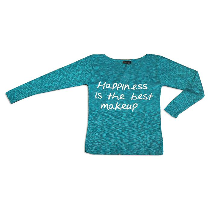 Blusa tricot happiness is the best makeup