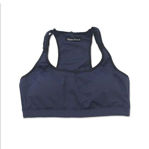 Top de compressão com bolso e bojo em sportiva ajuste alça e costas azul marinho  - Vivian Bógus