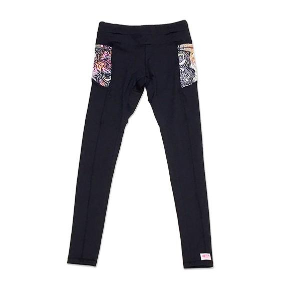 Legging de compressão mil bolsos em compress preto com bolsos Cashmere ( pode haver variação de cor na estampa dos bolsos)