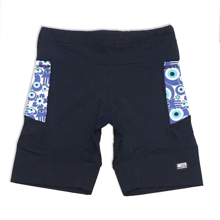 Bermuda de compressão 1500 bolsos em sportiva preto bolsos estampa olho grego new