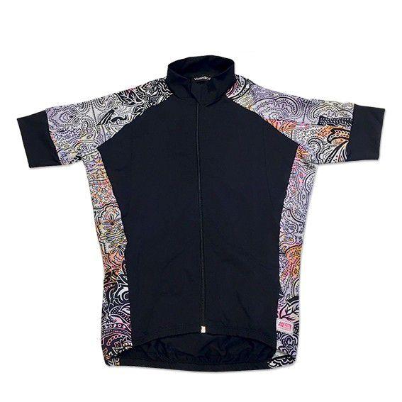 Blusa ziper ciclismo em tecido de compressão preta lateral cashmere