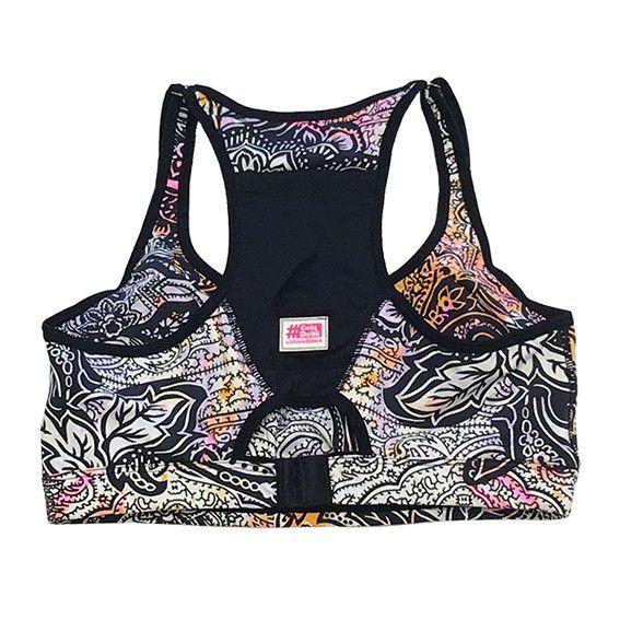 Top de compressão com bolso e bojo em sportiva ajuste alça e costas estampa cashmere bolso preto  - Vivian Bógus