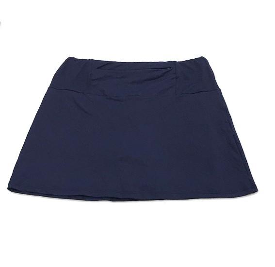 Saia Fitness com bolso ziper azul marinho