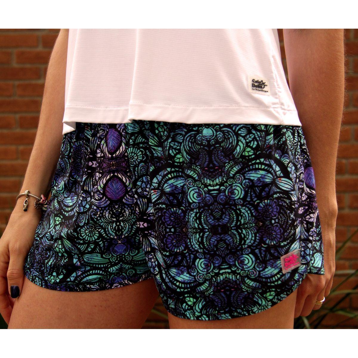 Shorts soltinho verde estampado  - Vivian Bógus