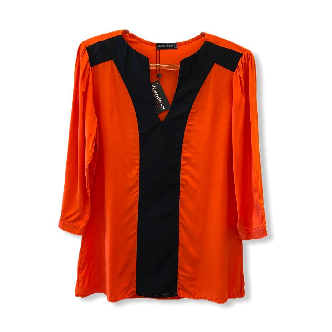 Blusa bicolor laranja e preta  - Vivian Bógus