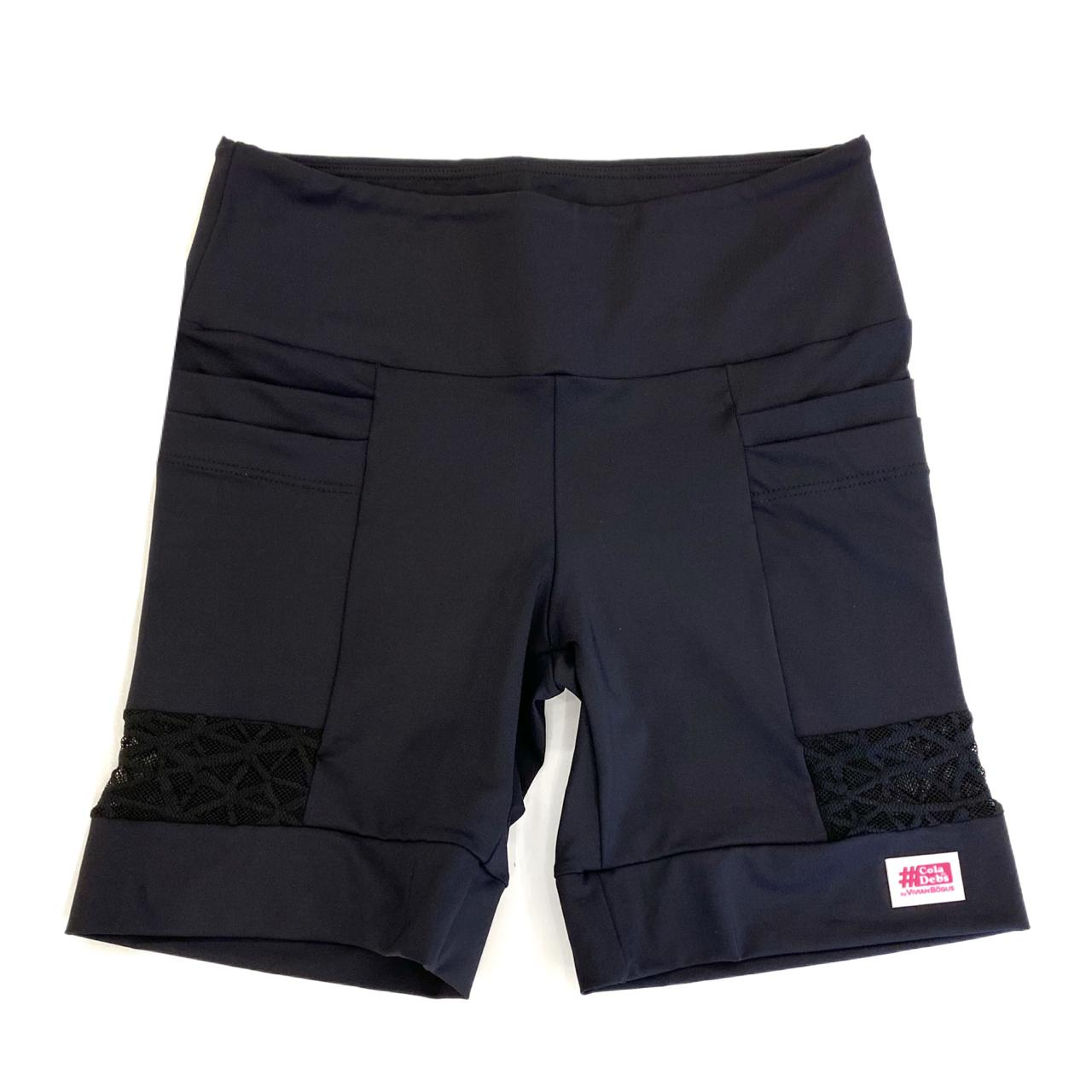 Bermuda 4 bolsos em sportiva preto e detalhe tule  - Vivian Bógus