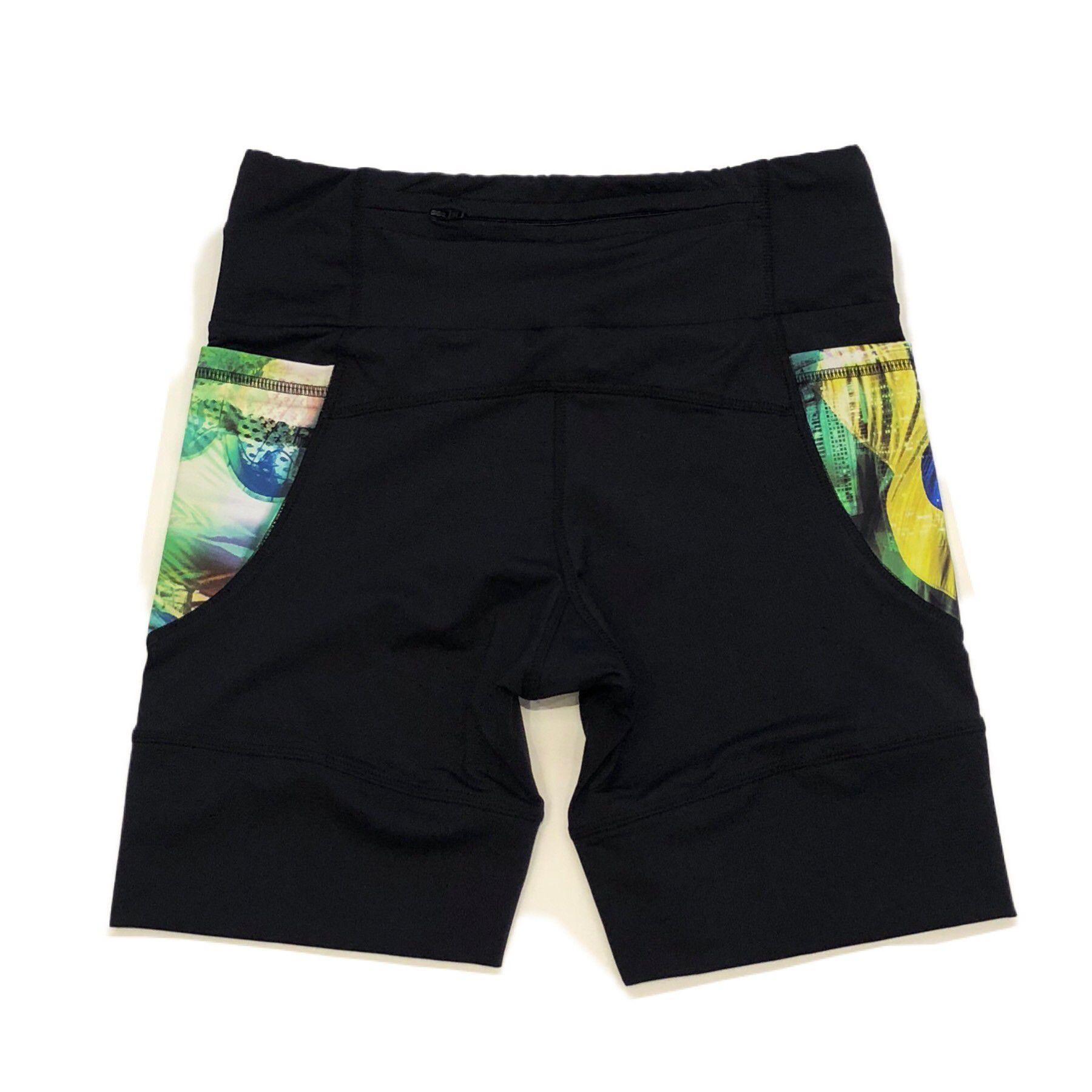 Bermuda de compressão masculina - unissex 1500 bolsos em compress preto bolsos Brasil  - Vivian Bógus
