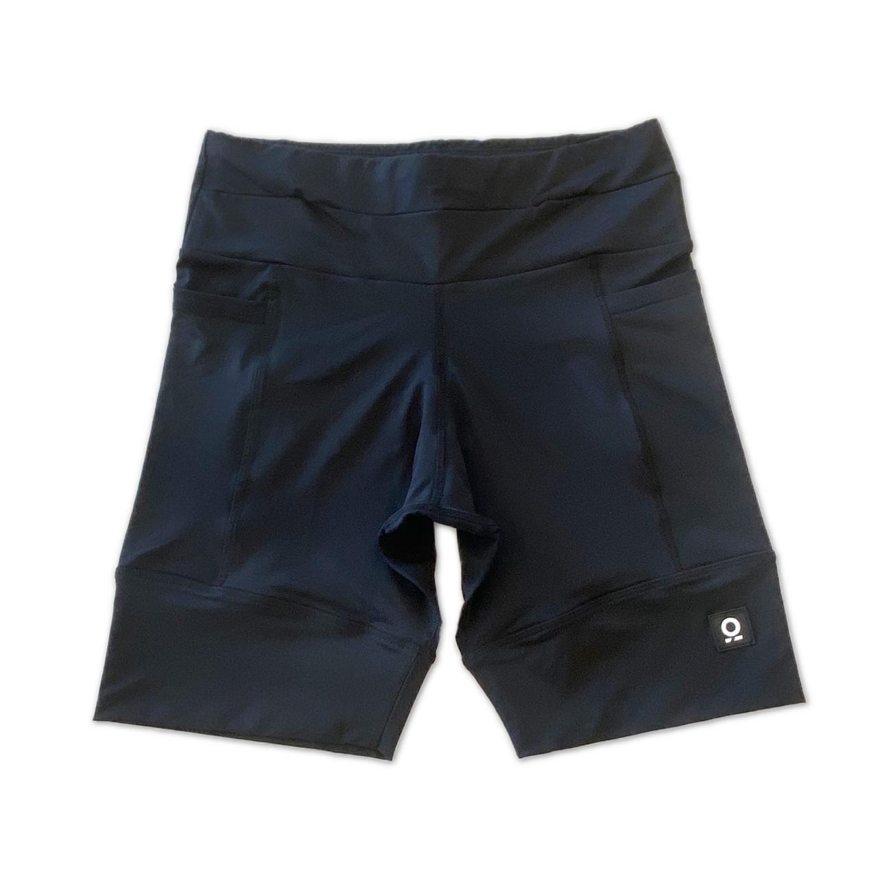 Bermuda de compressão masculina - unissex 1500 bolsos quadrados em sportiva preta  - Vivian Bógus
