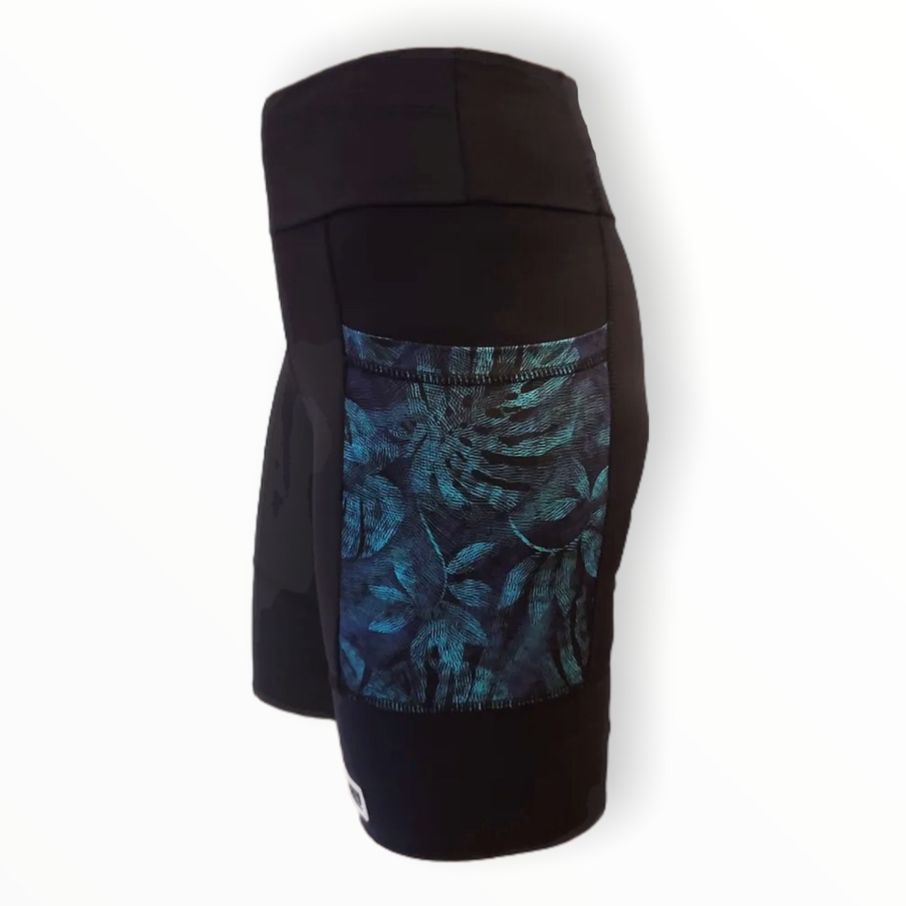 Bermuda de compressão unissex Square (2 bolsos) em compress preto bolsos estampa folhagem