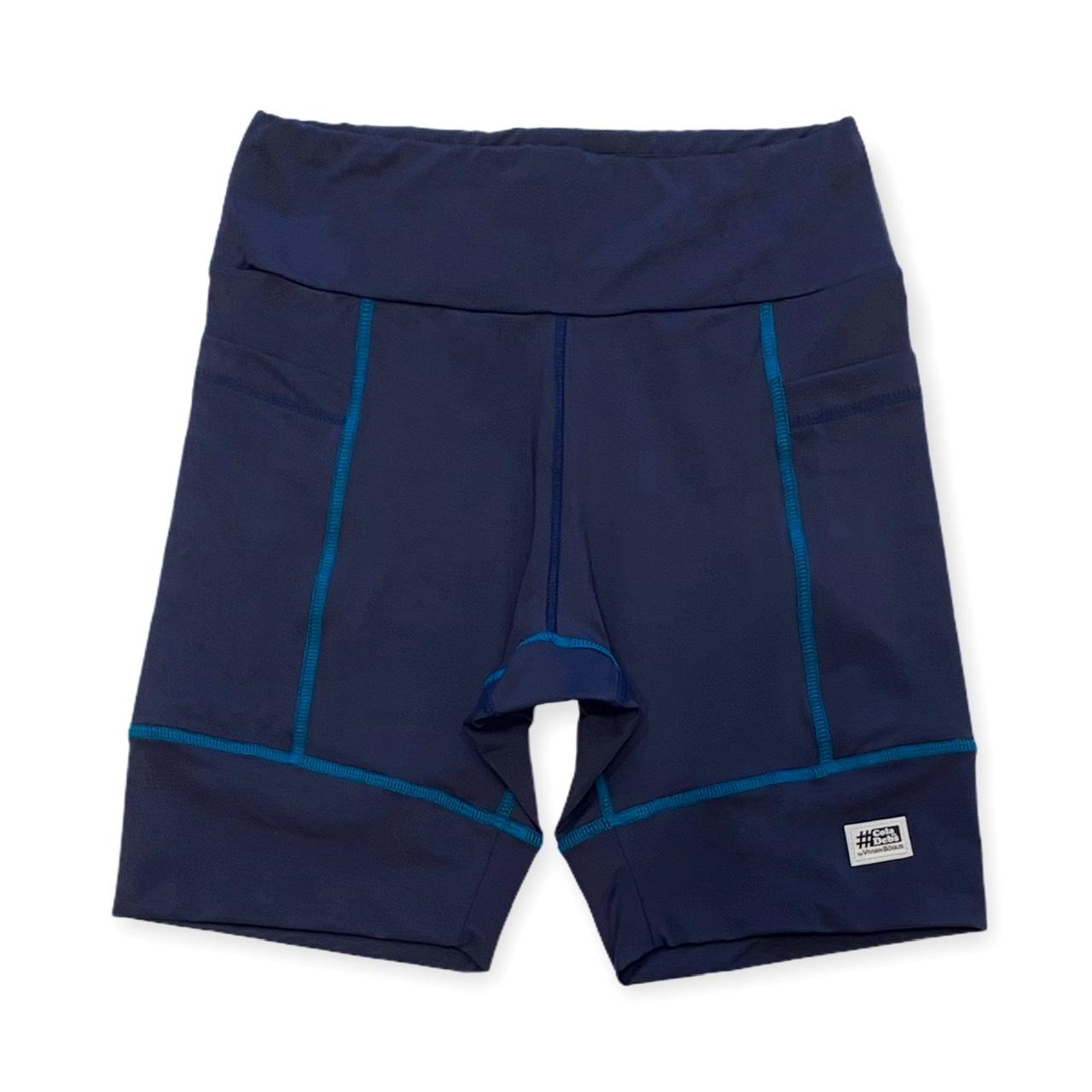Bermuda de compressão unissex square em sportiva azul marinho costura azul  - Vivian Bógus