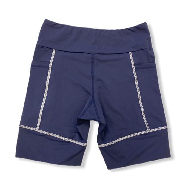 Bermuda de compressão unissex square em sportiva azul marinho costura branca  - Vivian Bógus