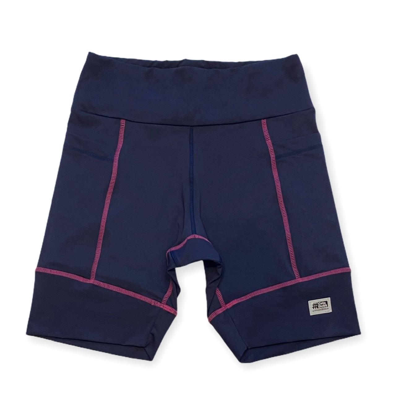 Bermuda de compressão unissex square em sportiva azul marinho costura pink  - Vivian Bógus
