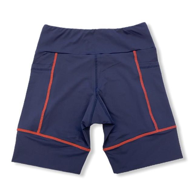 Bermuda de compressão unissex square em sportiva azul marinho costura vermelha  - Vivian Bógus