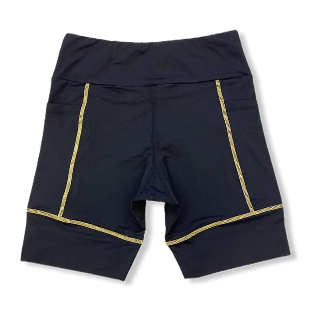 Bermuda de compressão unissex square em sportiva preto costura amarela  - Vivian Bógus