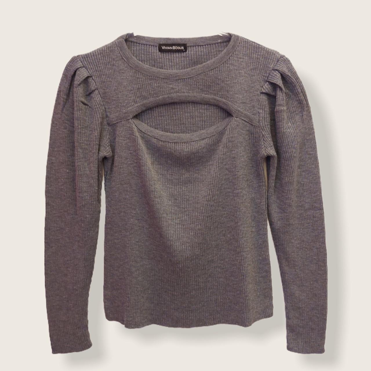 Blusa Alessandra com fenda cinza