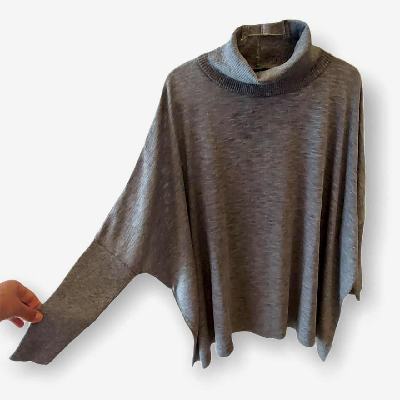 Blusa ampla Renata cinza tricot  - Vivian Bógus